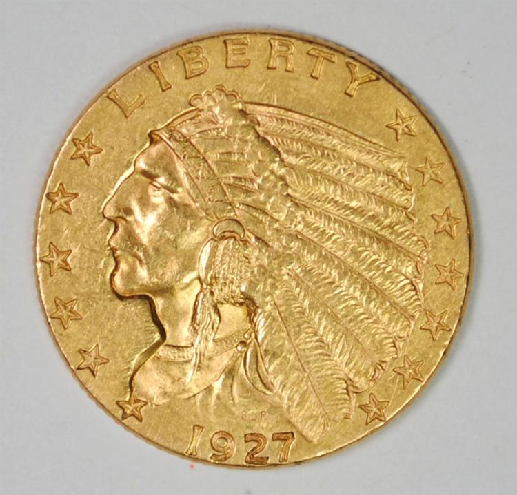 1927 $2.50 GOLD INDIAN, AU/BU