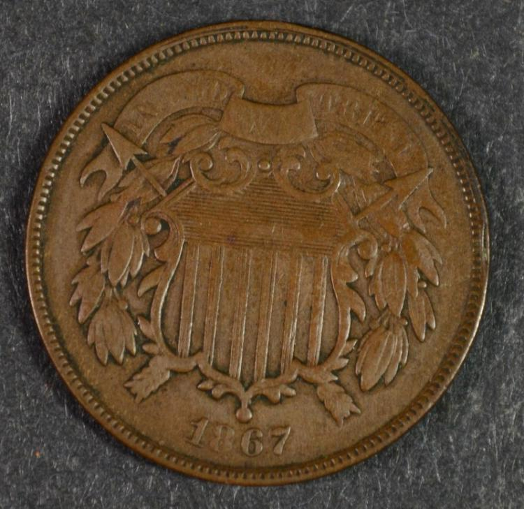1867 2-CENT PIECE, VF++ NICE