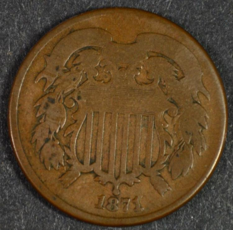 1871 2-CENT PIECE VG, HARD TO FIND!