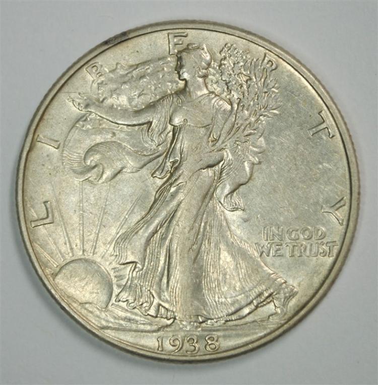 1938-D WALKING LIBERTY HALF XF/AU KEY DATE COIN!