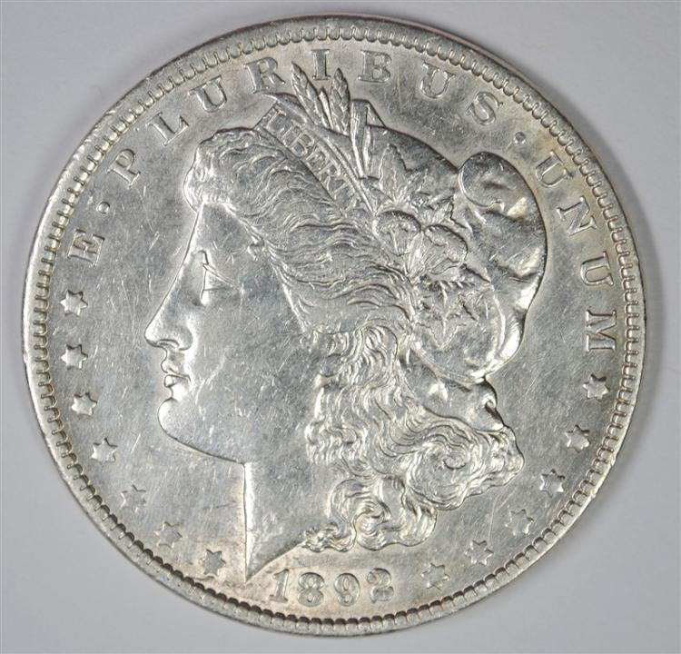 1892 MORGAN SILVER DOLLAR AU