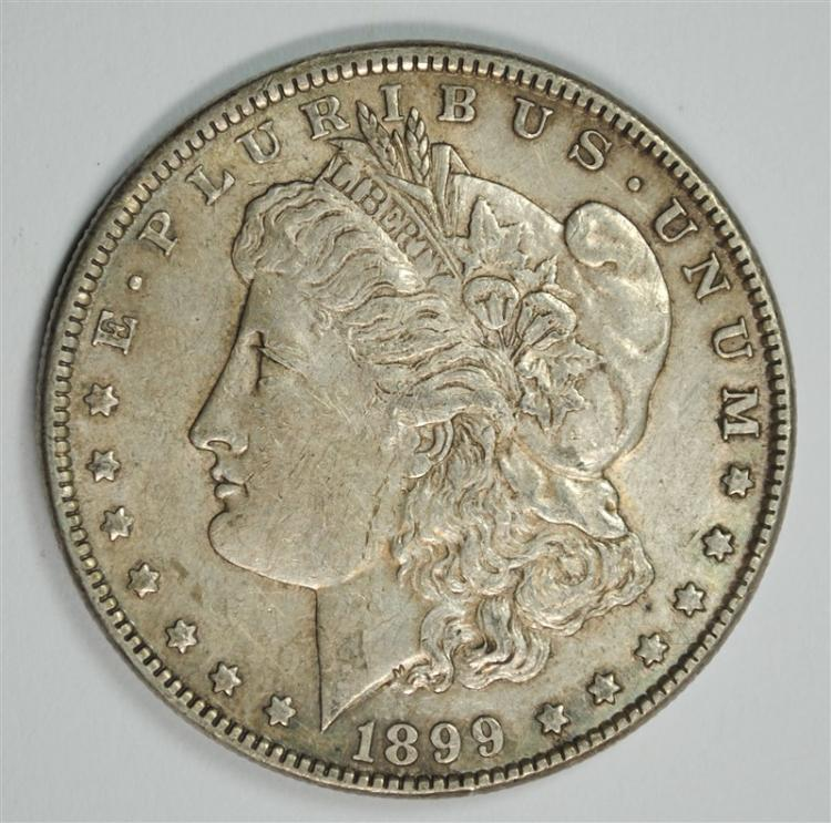 1899 MORGAN SILVER DOLLAR, XF  KEY DATE!