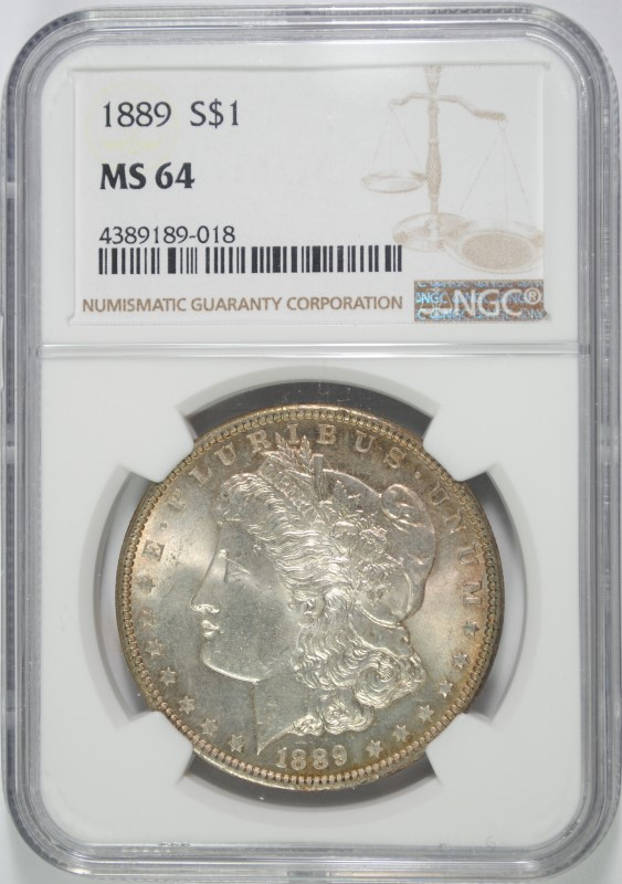 1889 MORGAN SILVER DOLLAR, NGC MS-64
