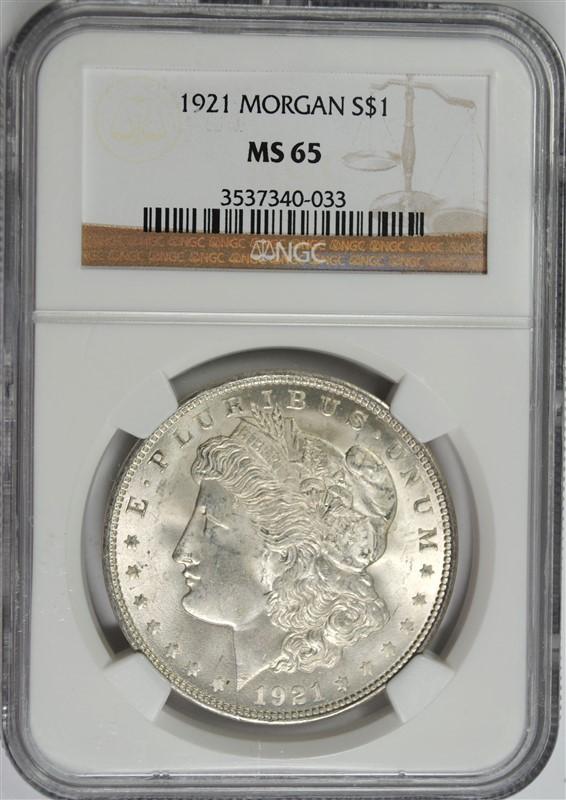 1921 MORGAN SILVER DOLLAR NGC MS65