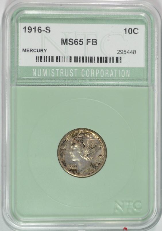 1916-S MERCURY DIME NTC GEM BU FB
