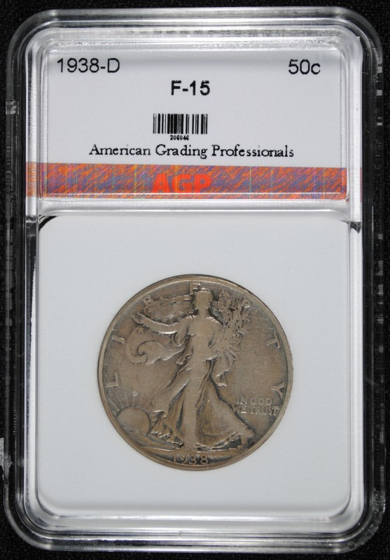 1938-D WALKING LIBERTY HALF DOLLAR AGP GRADED F