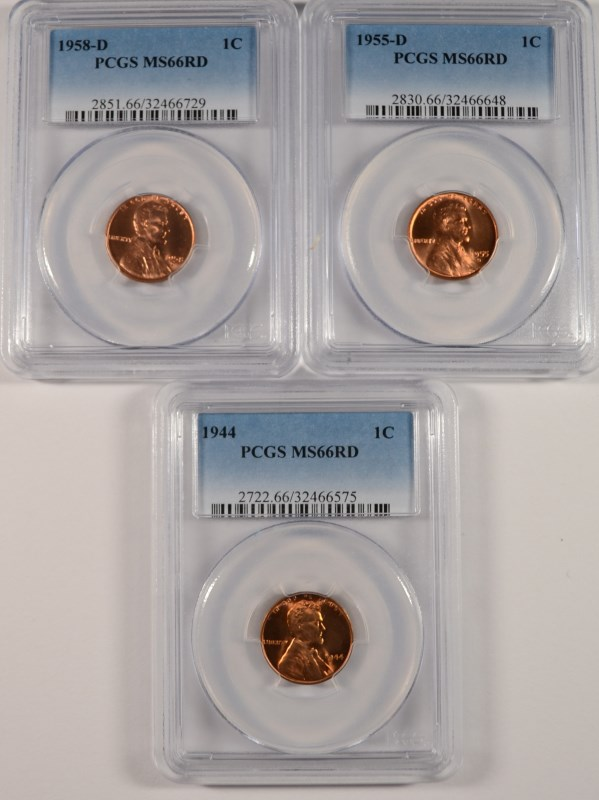 ( 3 ) PCGS GRADED MS-66 RED LINCOLN CENTS:  1944, 1955-D & 1958-D