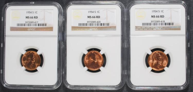 3 - 1954-S  NGC MS 66 RD LINCOLN WHEAT CENTS