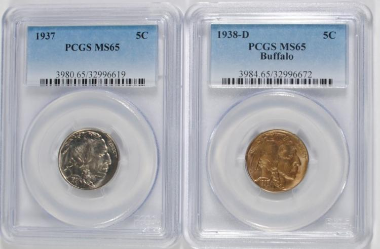 1937 & 38-D BUFFALO NICKELS PCGS MS-65