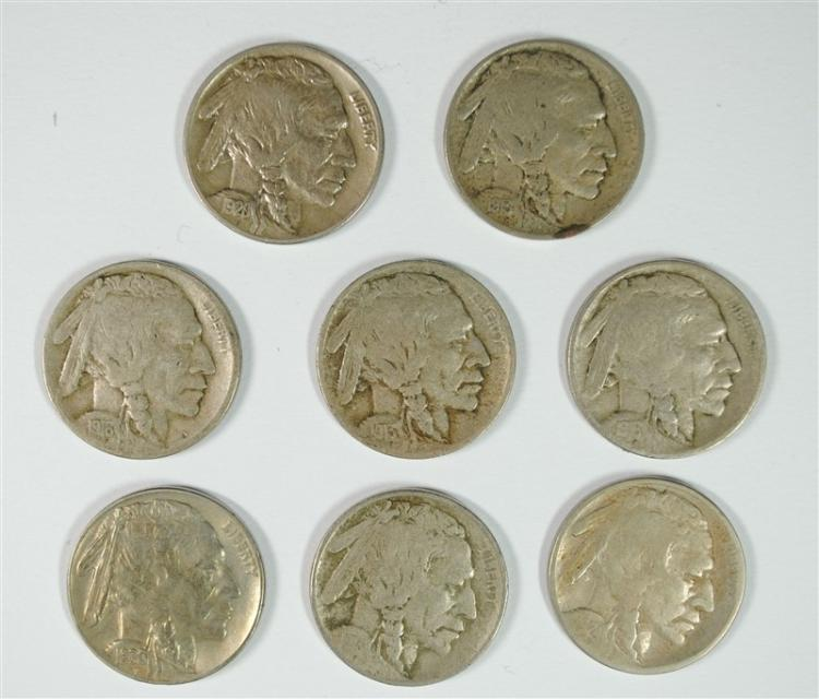 BUFFALO NICKEL LOT 2 1913 T-1, 13 T-2, 16-S,D, 20, 24-S, 30-S