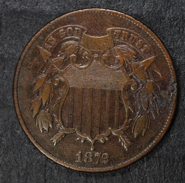 1872 2-CENT PIECE, VF RARE KEY COIN! TRY TO FIND THIS!