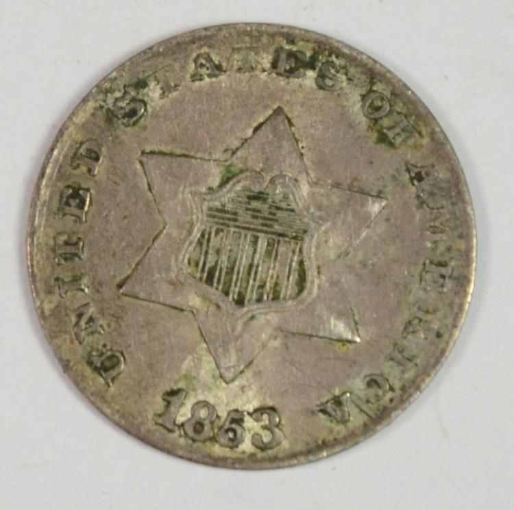 1853 3 CENT SILVER XF