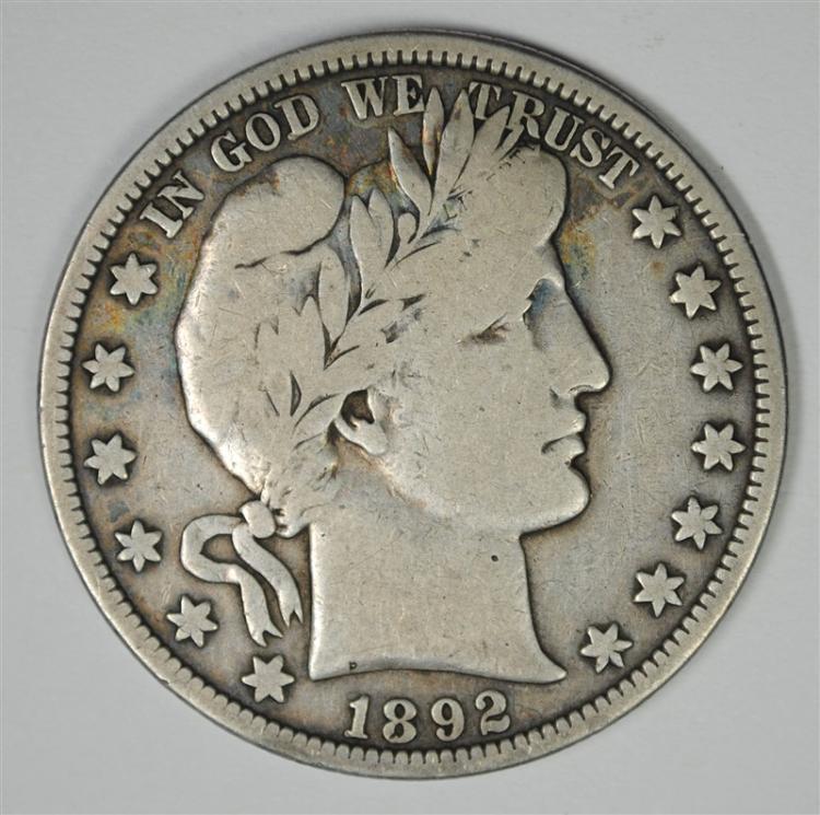 1892-S BARBER HALF DOLLAR, VG/FINE  RARE