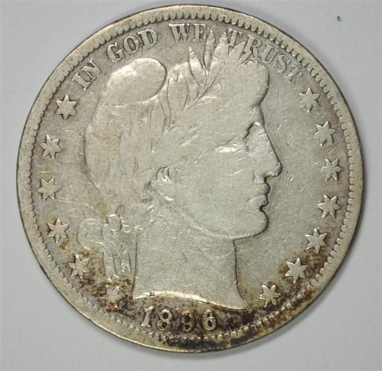 1896-S BARBER HALF DOLLAR, FULL VG