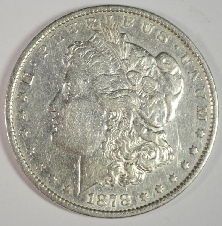1878 REV OF 1879 MORGAN SILVER DOLLAR, XF+