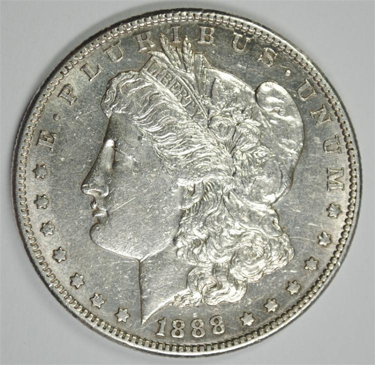 1888-S MORGAN SILVER DOLLAR, AU+ SEMI-KEY