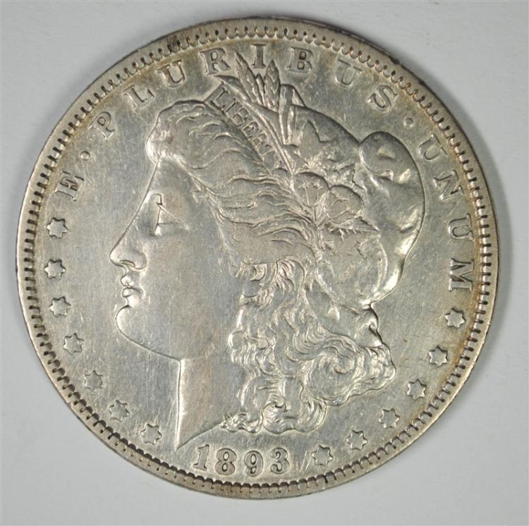 1893  MORGAN SILVER DOLLAR, XF  KEY COIN