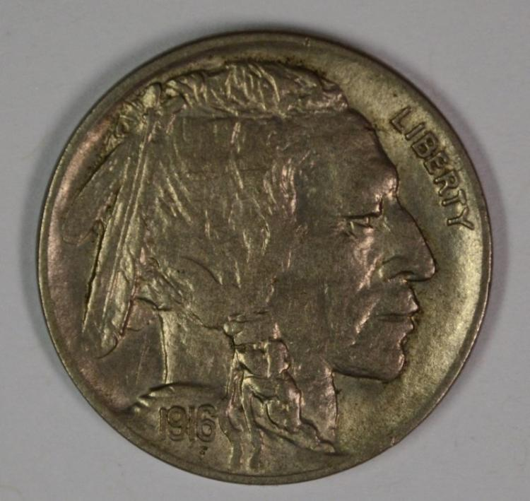 1916-D BUFFALO NICKEL, AU KEY DATE