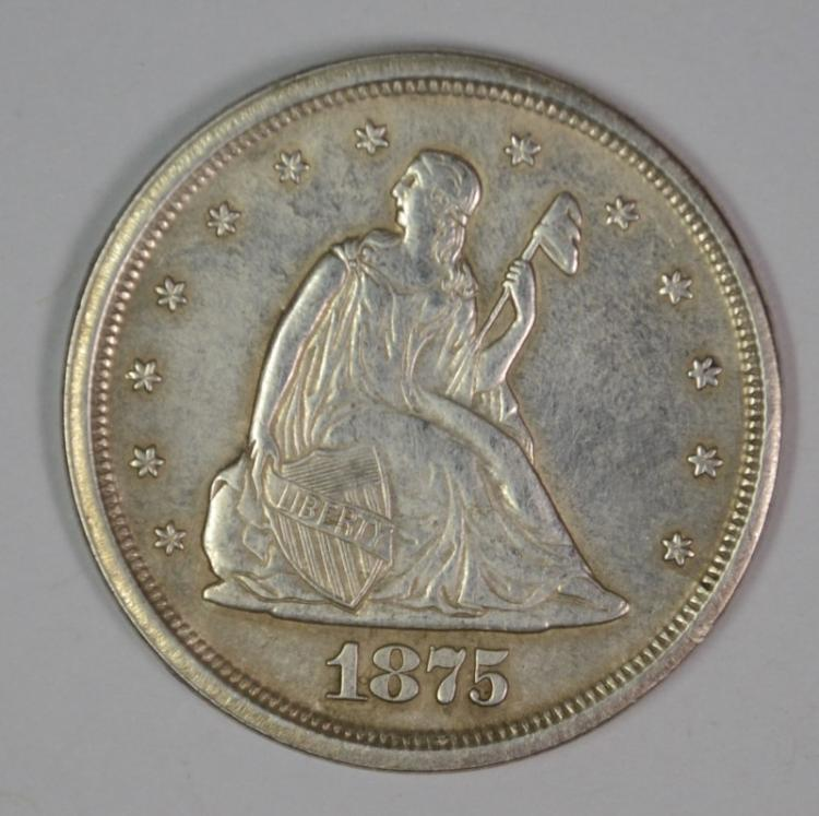 1875-S TWENTY CENT PIECE, CHOICE AU
