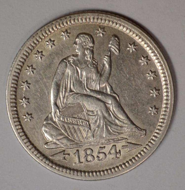 1854 ARROWS SEATED QUARTER, AU/BU