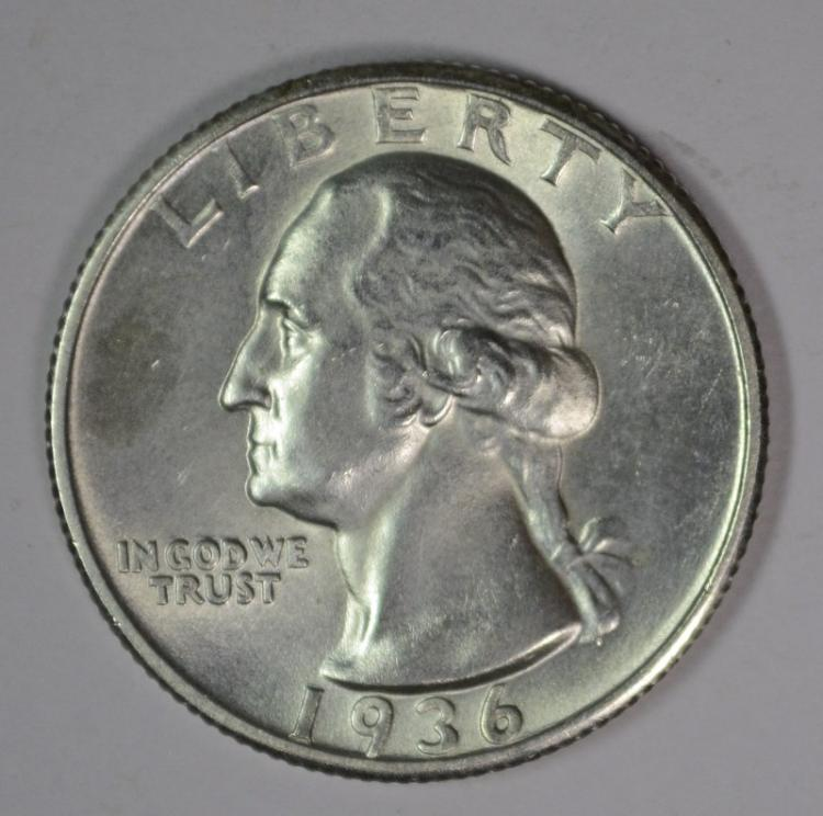 1936-D WASHINGTON QUARTER, CHOICE BU SCARCE!