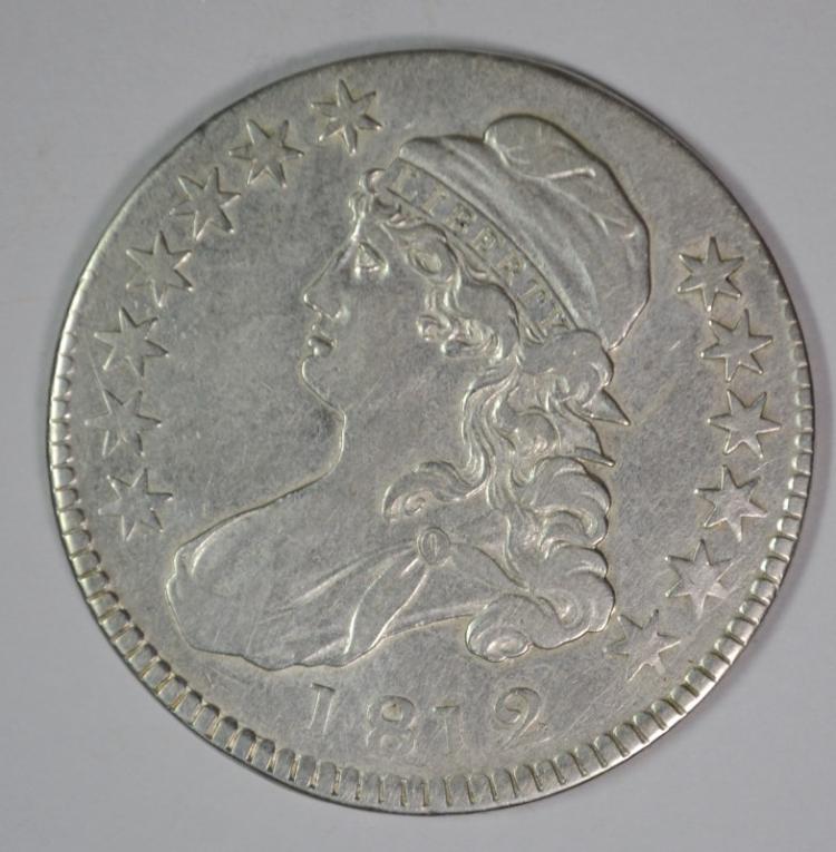 1812 CAPPED BUST HALF DOLLAR, AU  SCARCE!!