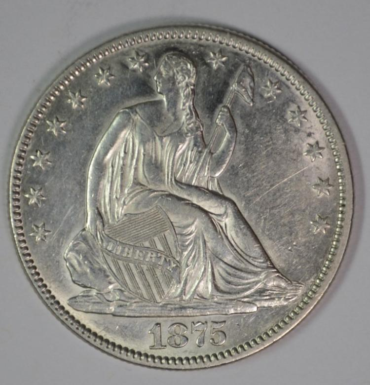 1875 SEATED HALF DOLLAR, CHOICE BU
