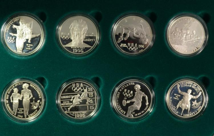 1995 ATLANTA CENTENNIAL OLYMPIC 8 COIN PROOF SET - BOX / COA