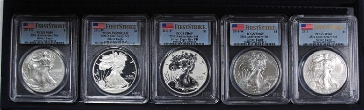 2011 AMERICAN SILVER EAGLE 25TH ANNIVERSARY SET PCGS MS/PR-69 FIRST STRIKE