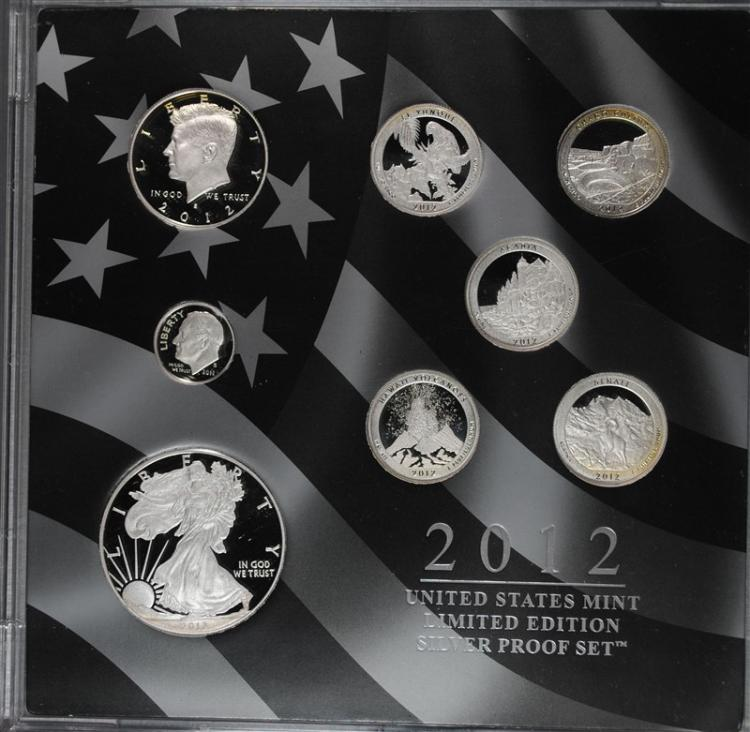 2012 LIMITED EDITION SILVER PROOF SET WITH ORIGINAL BOX, SLEEVE AND COA  RARE!!