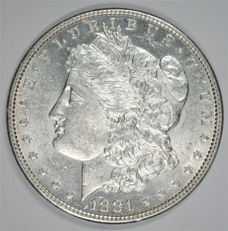 1881-O MORGAN SILVER DOLLAR, CHOICE BU
