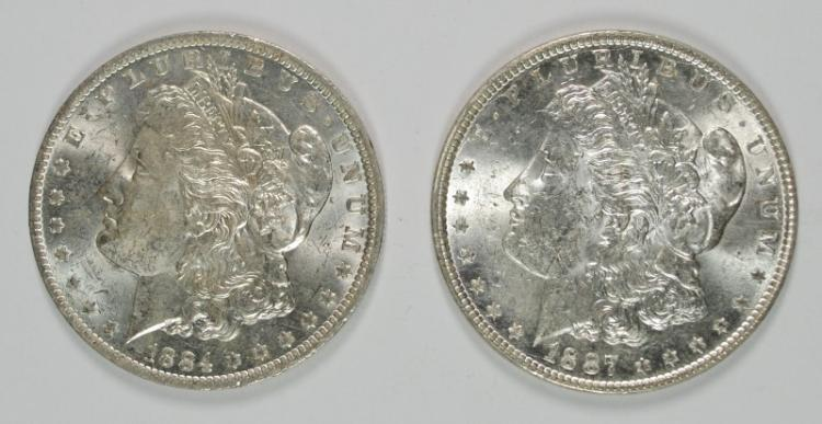 1884-O & 1887 MORGAN DOLLARS BU