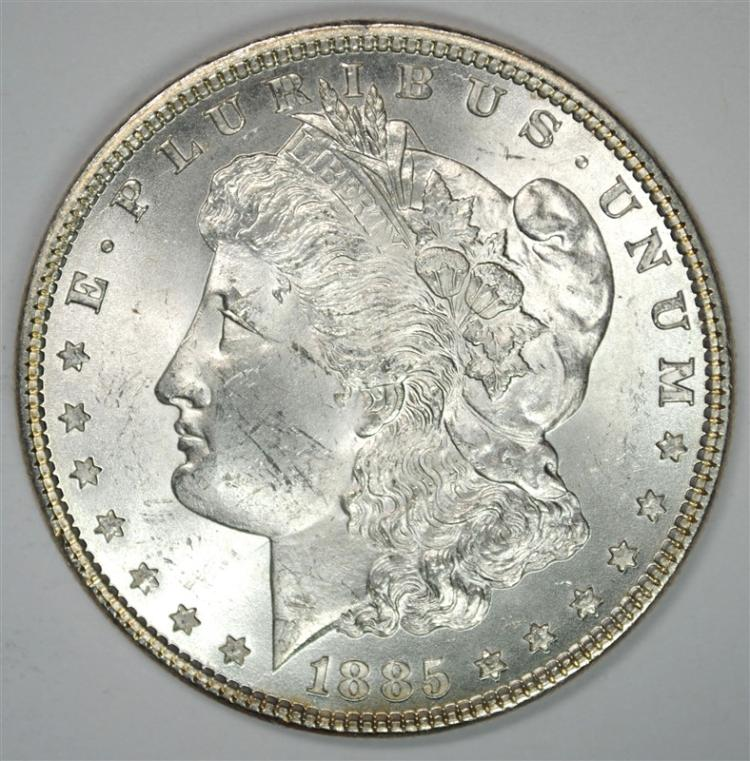 1885 MORGAN SILVER DOLLAR, CHOICE BU BLAST WHITE!