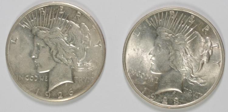 2- CH BU PEACE DOLLARS: 1923 & 1926