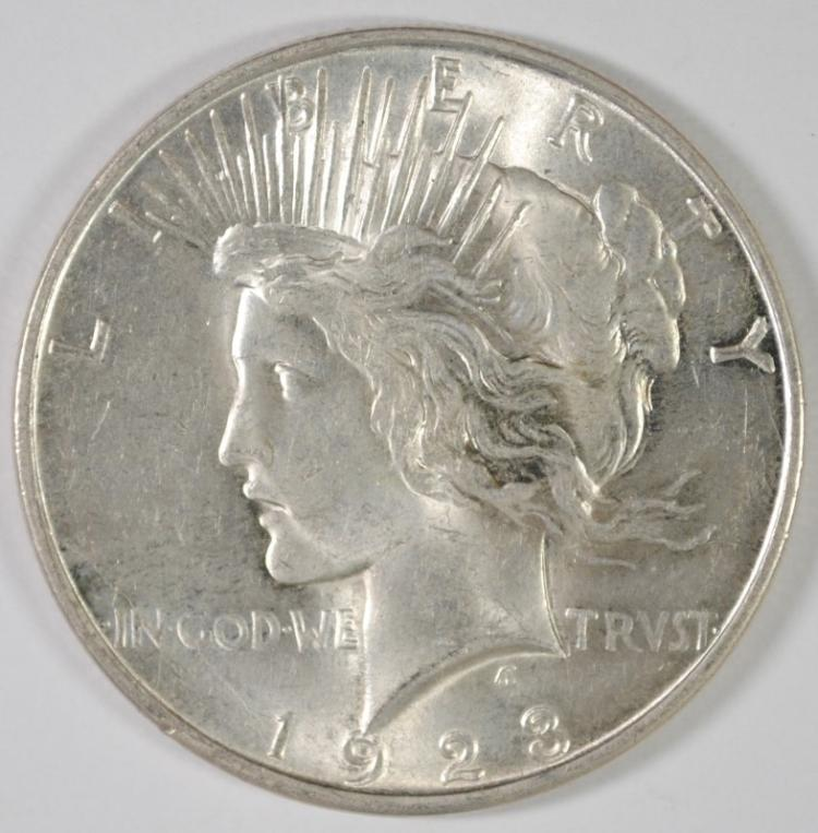 1923-D PEACE SILVER DOLLAR, CHOICE BU