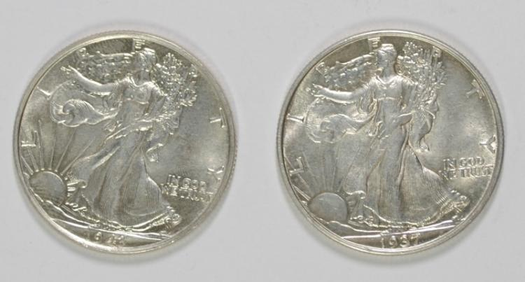 1943 & 37 WALKING LIBERTY HALVES CH BU