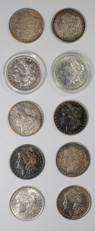 10 - NICE XF/AU MORGANS - 1890 XF, 1887 AU, 1900 AU, 1889 AU/UNC, 1896 & 1891 AU