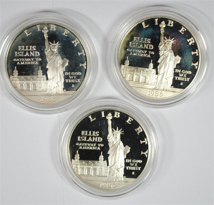 3 - 1986 STATUE OF LIBERTY SILVER DOLLAR PROOFS - ORIGINAL PACKAGING