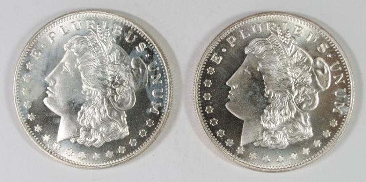 ( 2 ) ONE OUNCE .999 SILVER REPLICA  MORGAN DOLLARS