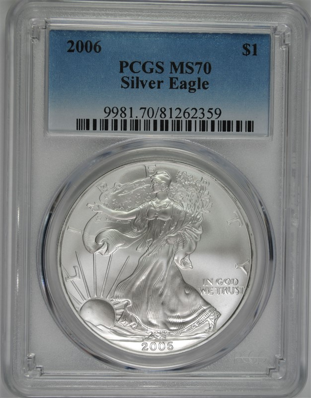 2006 AMERICAN SILVER EAGLE, PCGS MS-70 PERFECT!