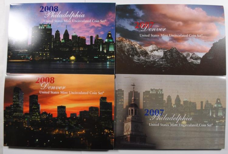 2007 & 2008 U.S. MINT UNCIRCULATED SETS IN ORIG PACKAGING