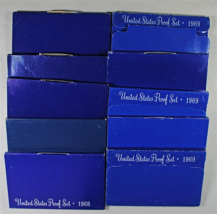 5-1968 & 5-1969 U.S. PROOF SETS IN NICE ORIG PACKAGING, HAVE 40% SILVER HALVES