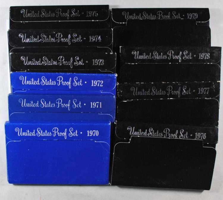 U.S .PROOF SETS OF THE 70'S 1970-79 (10) COMPLETE SETS IN NICE ORIG PACKAGING