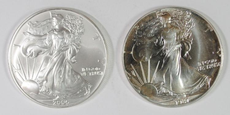 1987 & 2006 BU AMERICAN SILVER EAGLE ONE OUNCE .999 SILVER COINS