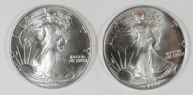 ( 2 ) BU 1990 AMERICAN SILVER EAGLE ONE OUNCE .999 SILVER COINS
