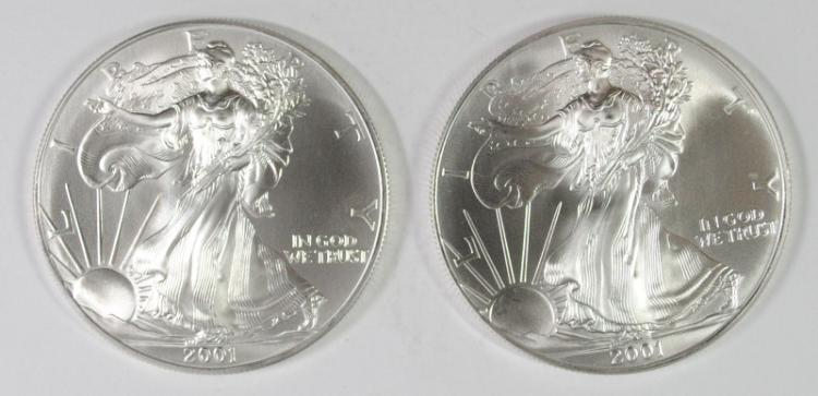 ( 2 ) BU 2001 AMERICAN SILVER EAGLE ONE OUNCE .999 SILVER COINS