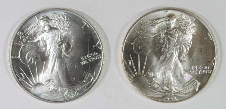 1990 & 1994 BU AMERICAN SILVER EAGLE ONE OUNCE .999 SILVER COINS