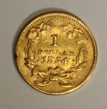 1854 TYPE 2 GOLD DOLLAR XF, EX JEWELRY