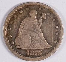 1875-S 20c CENT PIECE, F/VF NICE!