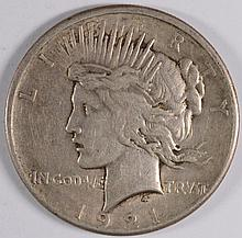 1921 PEACE SILVER DOLLAR, XF/AU  SEMI KEY!